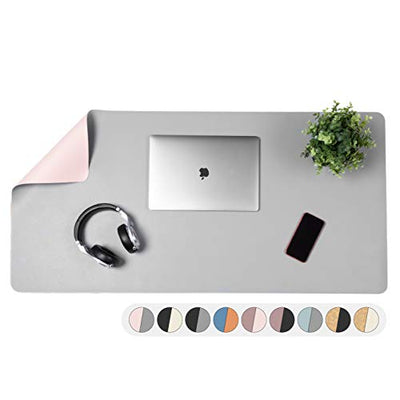 Office Desk Mat, Double Sided Pink & Gray - Large 47 x 23 Inch Leather Style Computer Pad for Desk