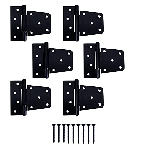 Ilyapa Heavy Duty Shed Door Hinges, 6 Pack - Black Cold Rolled Steel Square Hinges for Gate, Barn or Storage Shed