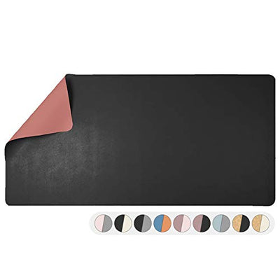 Office Desk Mat, Double Sided Black & Mauve - Large 47 x 23 Inch Leather Style Computer Pad for Desk