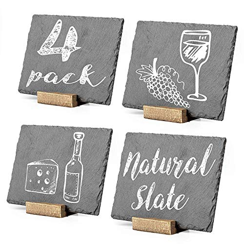 Mini Chalkboard Signs for Tables, 4 Pack - Rustic 5x6 Inch Small Slate Tabletop Chalk Boards with Wood Stands Set