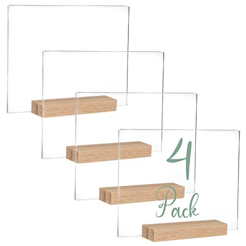 Acrylic Sign Holders with Natural Wood Stands, 4 Pack - Small 5x6 Inch Blank Table Numbers Set for Wedding