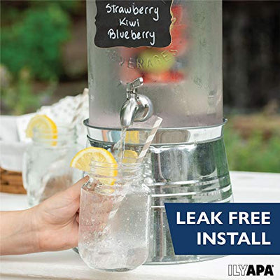 Outdoor Glass Beverage Dispenser with Infuser, Ice Bucket Stand, Stainless Steel Spigot & Hanging Chalkboard - 1.5 Gallon Outdoor Drink Dispenser for Lemonade, Tea, Cold Water & More