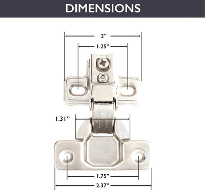 Self Closing Cabinet Hinges Satin Nickel, 50 Pack - 1/2 Inch Euro Face Frame Concealed Kitchen Cabinet Door Hinge Hardware