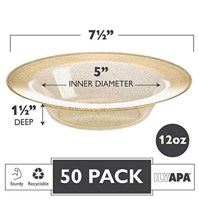 12oz Plastic Bowls Set of 50 - Gold Glitter 12 oz Heavy Duty Dessert Disposable Bowl Pack for Wedding or Party
