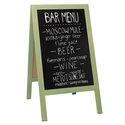 Wooden A-Frame Sign with Eraser & Chalk - 40 x 20 Inches Magnetic Sidewalk Chalkboard - Sturdy Freestanding Sage Sandwich Board Menu Display for Restaurant, Business Or Wedding