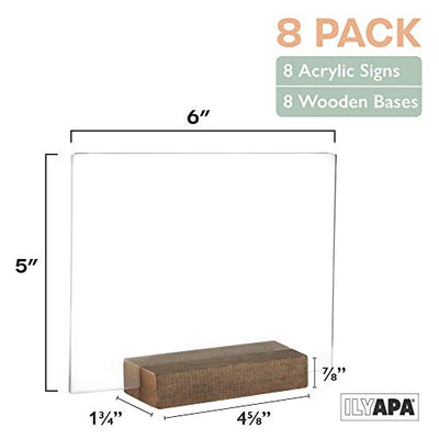 Acrylic Sign Holders with Wood Stands, 8 Pack - Small 5x6 Inch Blank Table Numbers Set for Wedding