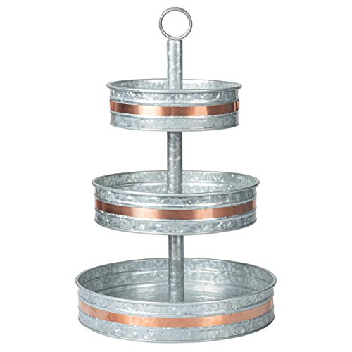 Galvanized Three Tiered Serving Stand - Farmhouse 3 Tier Metal Tray Platter for Cake, Dessert, Shrimp, Appetizers & More