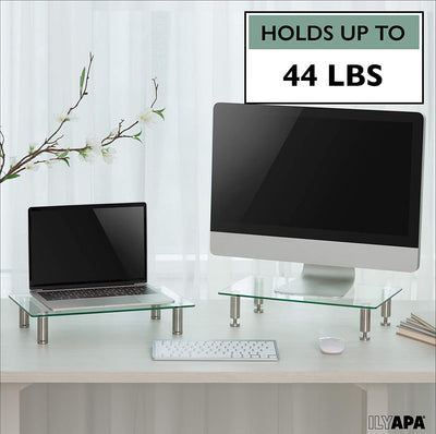 Height Adjustable Glass Monitor Stand 2 Pack - 16 x 9.5 Inch Clear Desktop Risers for Computer Monitors, Laptop, TV, Printer & More