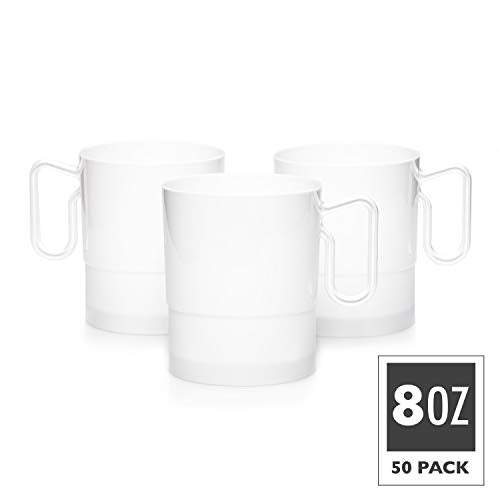 50 Plastic Coffee Cups with Handles, 8 oz White - Disposable or Reusable Tea Mug Pack