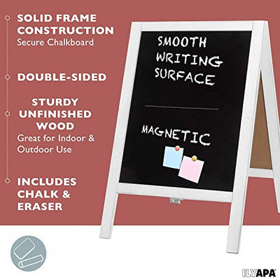 Wooden A-Frame Sign with Eraser & Chalk - Magnetic Sidewalk Chalkboard - Sturdy Freestanding White Sandwich Board Menu Display for Restaurant, Business Or Wedding