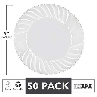 Premuim Disposable Plastics for Party or Wedding in Multiple Sizes & Styles (50, 9 in. - Scalloped Edges)