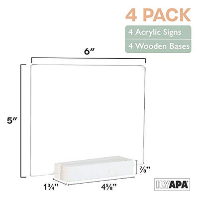 Acrylic Sign Holders with White Wood Stands, 4 Pack - Small 5x6 Inch Blank Table Numbers Set for Wedding