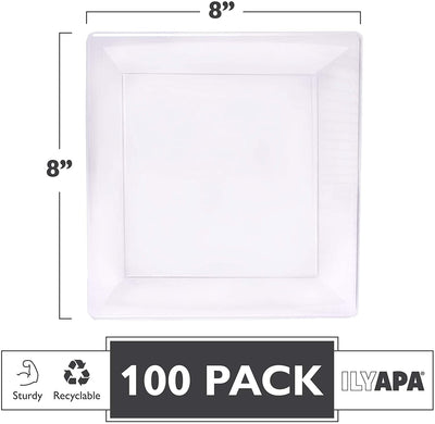 100 Square Plastic Plates - 8 Inch Clear Disposable Plates for Dessert, Salad, Appetizer or Dinner, Bulk Set