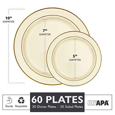 60 Gold Rim Plastic Plates Set - Bulk Ivory, Gold Rimmed Dinner & Salad Disposable Plates for Wedding or Party