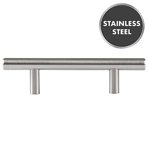 Brushed Stainless Steel 3 Inch Hole Center Bathroom Kitchen Handles - Interior Exterior - Modern Contemporary Design - 10 Pack