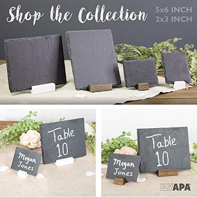 Mini Chalkboard Signs for Tables, 4 Pack - Rustic 5x6 Inch Small Slate Tabletop Chalk Boards with White Wood Stands Set