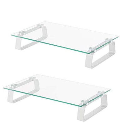 Glass Monitor Stand 2 Pack - 16 x 9.5 x 3 Inch Desktop Risers for Computer Monitors, Laptop, TV, Printer & More