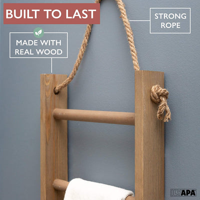 Ilyapa Hanging Towel Rack Ladder for Bathroom - Weathered Wood Blanket Ladder for Rustic Bedroom Farmhouse Decor