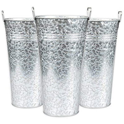 Galvanized Hanging Wall Planter, Vases, and Standing Planters - Multiple Sizes and Quantities to Choose from!