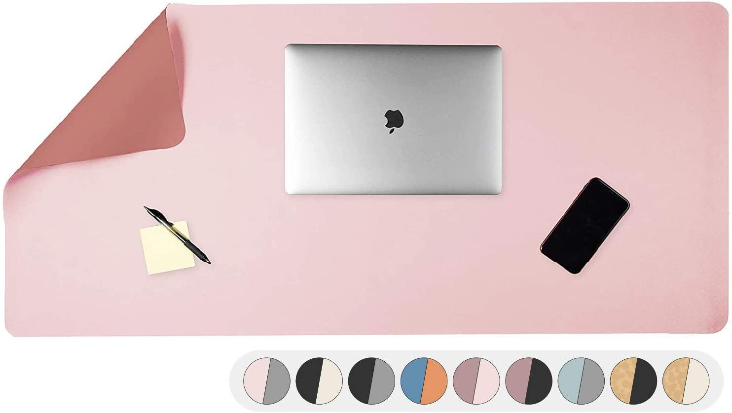 Office Desk Mat, Double Sided Blush & Mauve - 36 x 17 Inch Leather Style Computer Pad for Desk