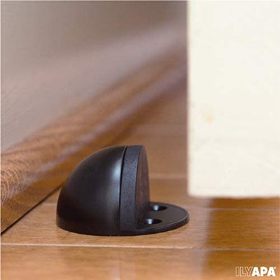 Floor Door Stop with Rubber Bumper 5 Pack, Black - in Floor Mount Half Dome Door Stopper Set