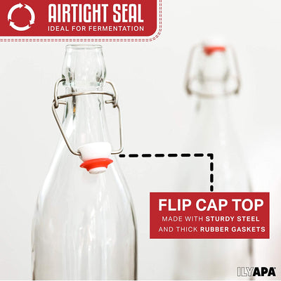 32 oz Clear Glass Beer Bottles for Home Brewing - 6 Pack with Airtight Rubber Seal Flip Caps
