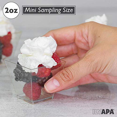 100 Mini Plastic Dessert Cups with Spoons - 2 oz Dessert Shooters for Chocolate Desserts, Appetizers, Dessert Samplers, Dessert Shot Glasses & More