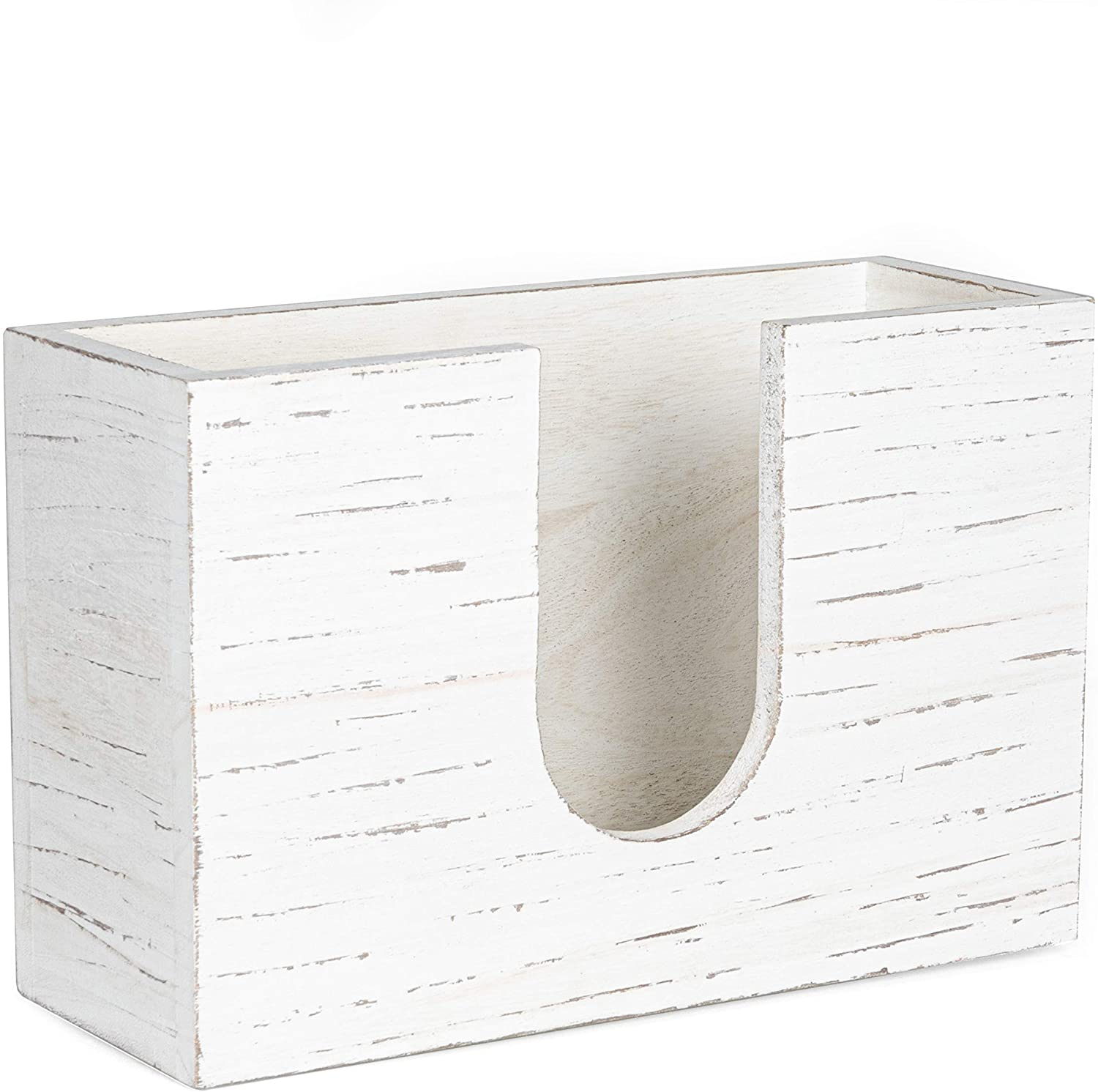 Wood Paper Towel Dispenser - Rustic Farmhouse White Wooden Multifold Hand Towel Holder