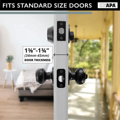 Entry Knob Lockset with Single Cylinder Deadbolt Combo Set - Classic Design - Improved Matte Black Finish - (3 Pack)