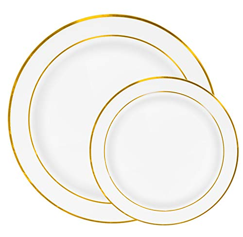 60 Gold Rim Plastic Plates Set - Bulk White Gold Rimmed Dinner & Salad Disposable Plates for Wedding or Party