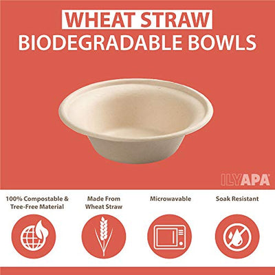 100 Disposable Biodegradable Bowls - 12 oz Compostable & Microwavable Wheat Straw, Tree Free Bowls, Bulk Set