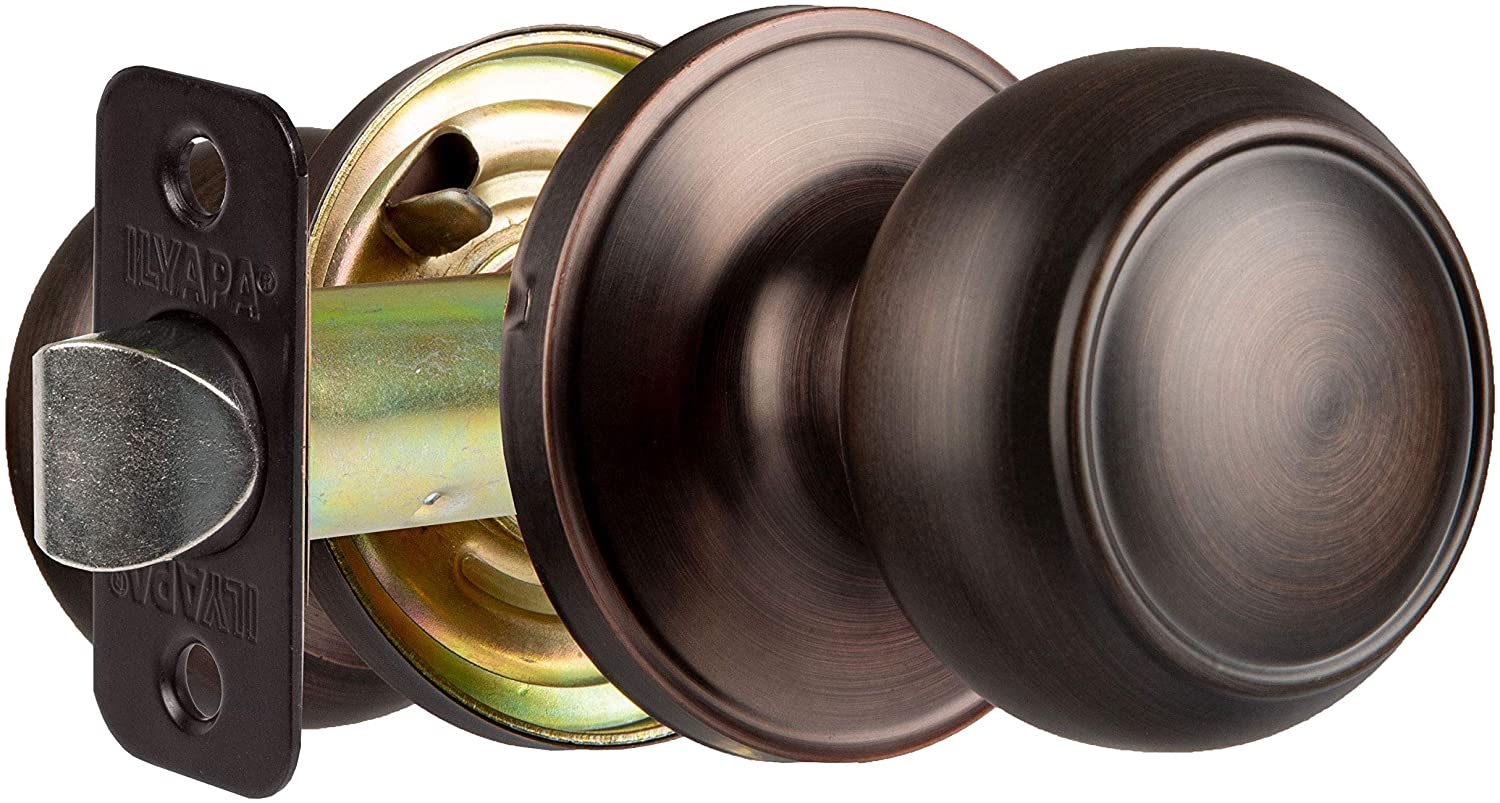 Interior Passage Door Knob - Keyless Hall and Closet Lockset - Oil Rubbed Bronze Finish