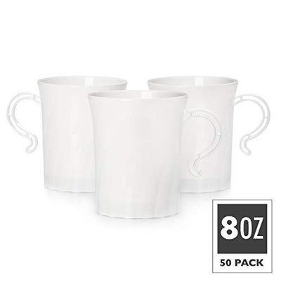 50 Plastic Coffee Cups with Handles, White 8 oz - Disposable or Reusable Tea Mug Pack