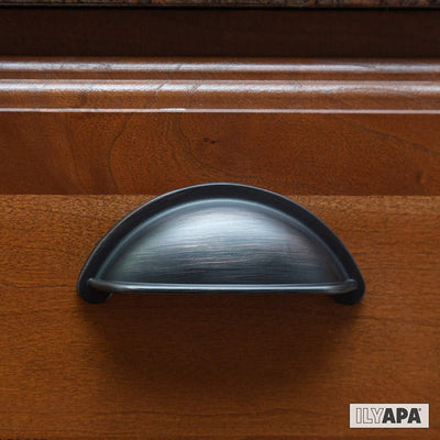 Oil Rubbed Bronze Kitchen Cabinet Pulls - 3 Inch Hole Center Bin Cup Drawer Handles - 10 Pack of Kitchen Cabinet Hardware