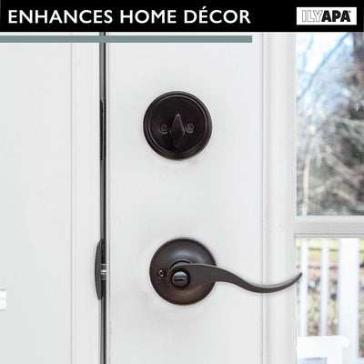 Entry Door Handle and Deadbolt Lock Set, 3 Pack - Oil Rubbed Bronze Lever Door Knob for Front Entrance, Bedroom, Bathroom or Closet