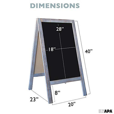 Wooden A-Frame Sign with Eraser & Chalk - 40 x 20 Inches Magnetic Sidewalk Chalkboard - Sturdy Freestanding Grey Sandwich Board Menu Display for Restaurant, Business or Wedding