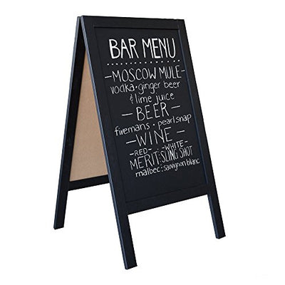 Wooden A-Frame Sign with Eraser & Chalk - 40 x 20 Inches Magnetic Sidewalk Chalkboard - Sturdy Freestanding Black Sandwich Board Menu Display for Restaurant, Business or Wedding