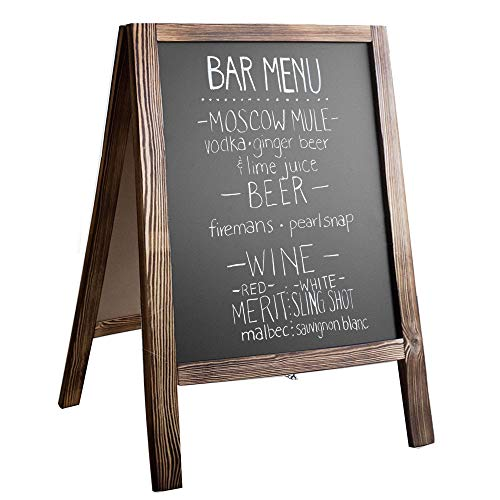 Wooden A-Frame Sign with Eraser & Chalk - Magnetic Sidewalk Chalkboard - Sturdy Freestanding Stained Wood Sandwich Board Menu Display for Restaurant, Business or Wedding