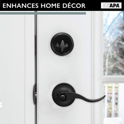Entry Lever Door Handle - Single Cylinder Tubular Deadbolt Knobset - Keyed Alike - Reversible for Left or Right Side, Classic Design - Steel Round Rose, with Adjustable Latch - Black Finish (3 Pack)