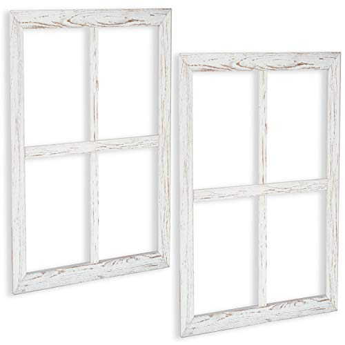 Window Frame Wall Decor 2 Pack - Large 18x22 Inch Rustic White Wood Window Pane Country Farmhouse Decorations