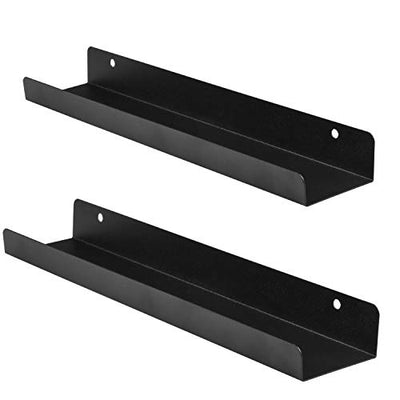 Ilyapa Vinyl Records Holder Shelf - Pack of 2, 4, or 8 Shelves - Metal Black Wall Mount Record Display