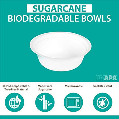 50 Disposable Biodegradable Bowls - 12oz White Compostable & Microwavable Tree Free Sugarcane Bowls, Bulk Set