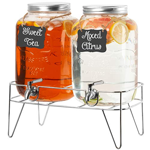 2 Pack of Outdoor Glass Beverage Dispensers with Sturdy Metal Bases & Stainless Steel Spigots - 2 Gallon Drink Dispensers for Lemonade, Tea, Cold Water & More
