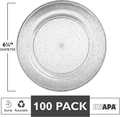 100 Silver Glitter Plastic Plates for Dinner Party or Wedding - 6 Inch Premium Disposable Plastics Plates