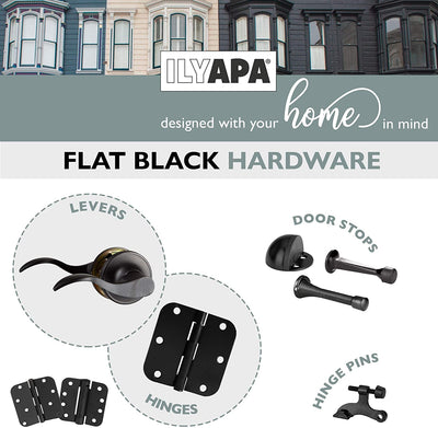 Interior Passage Lever - Keyless Hall and Closet Locksets, Reversible - Hall and Closet - Improved Matte Black Finish - (6 Pack)
