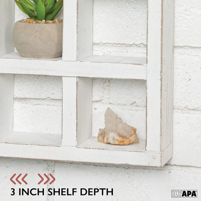 Ilyapa Knick Knack Shelf, Weathered White Wood - Wall Mount or Freestanding Organizer Stand for Oils, Coffee Mugs, Crystals, Rocks, Curios & More