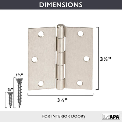 18 Pack of Door Hinges Satin Nickel - 3 ½ x 3 ½ Inch Square Interior Hinges for Doors