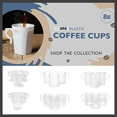 50 Plastic Coffee Cups with Handles, 8 oz White - Disposable or Reusable Mug Pack