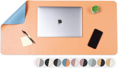 Office Desk Mat, Double Sided Dark Blue & Tan - 36 x 17 Inch Leather Style Computer Pad for Desk