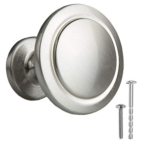 Satin Nickel Kitchen Cabinet Knobs - 1 1/4 Inch Round Drawer Handles - 10 Pack of Kitchen Cabinet Hardware